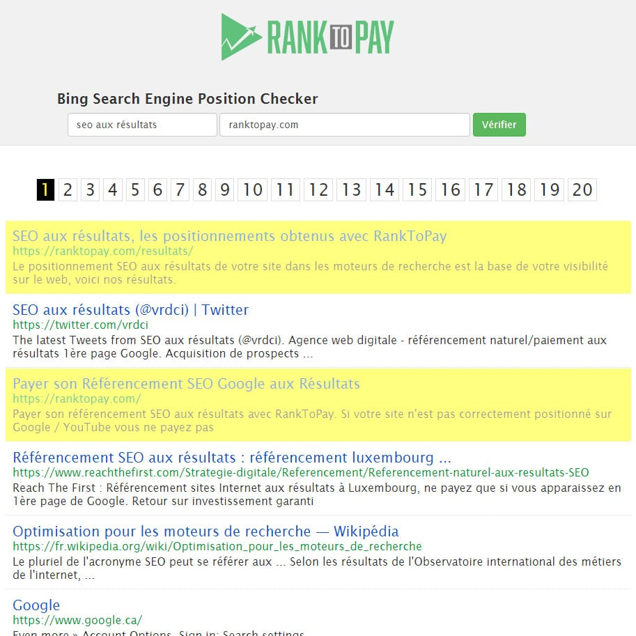 Bing search engine position checker